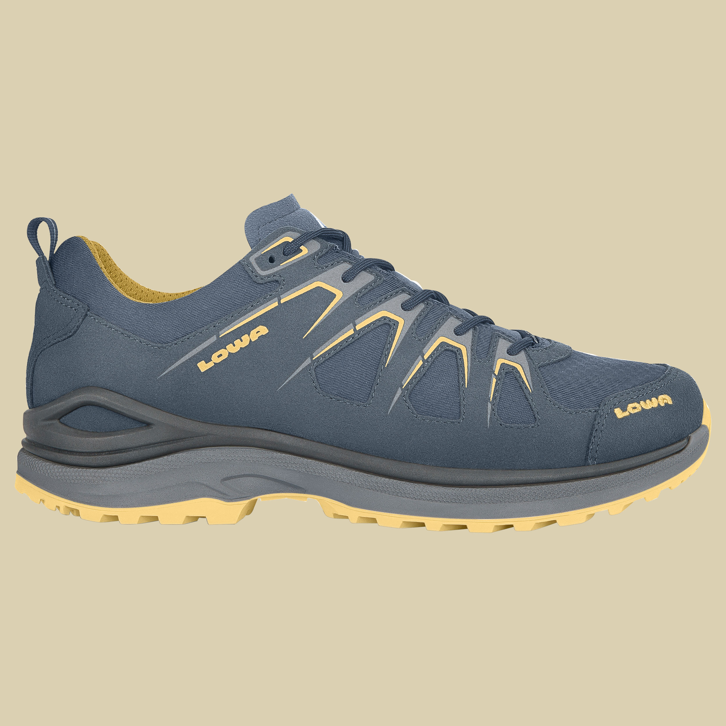 Lowa Innox Evo GTX Low Men Outdoor Fitness Schuh  Größe UK 8 stahlblau/senf