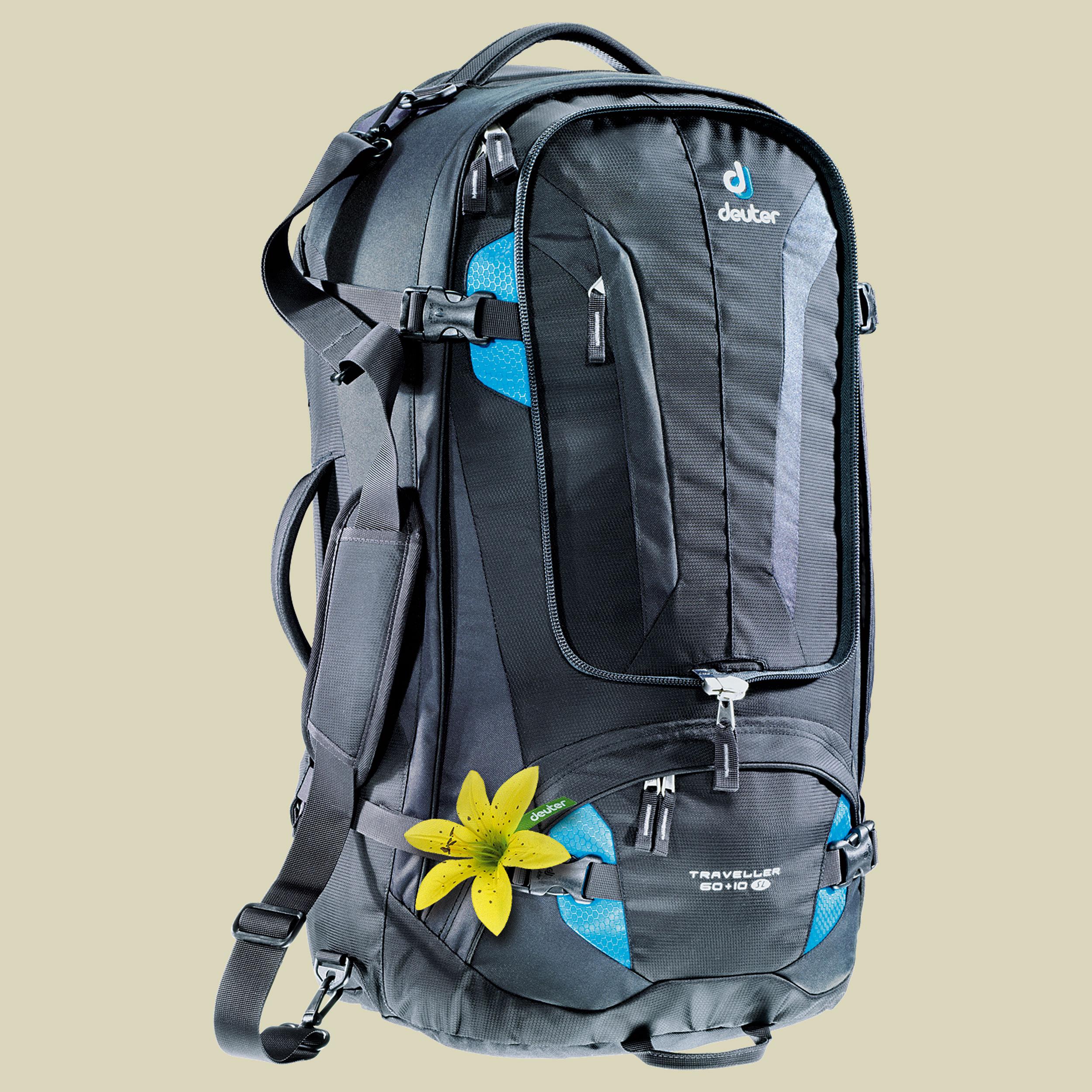 Deuter Traveller 60 + 10 SL Damen Reiserucksack Volumen 60 + 10 L plus 15 L Daypack black-turquoise