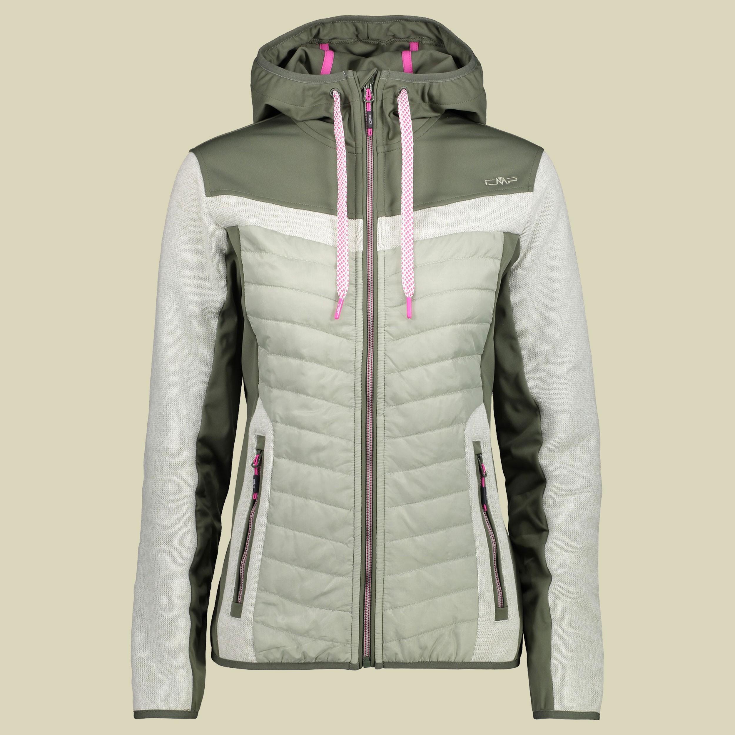 CMP Woman Fix Hood Hybrid Jacket 38H7006 - Damen Fleecejacke - naturzeit 0d8f8460f1