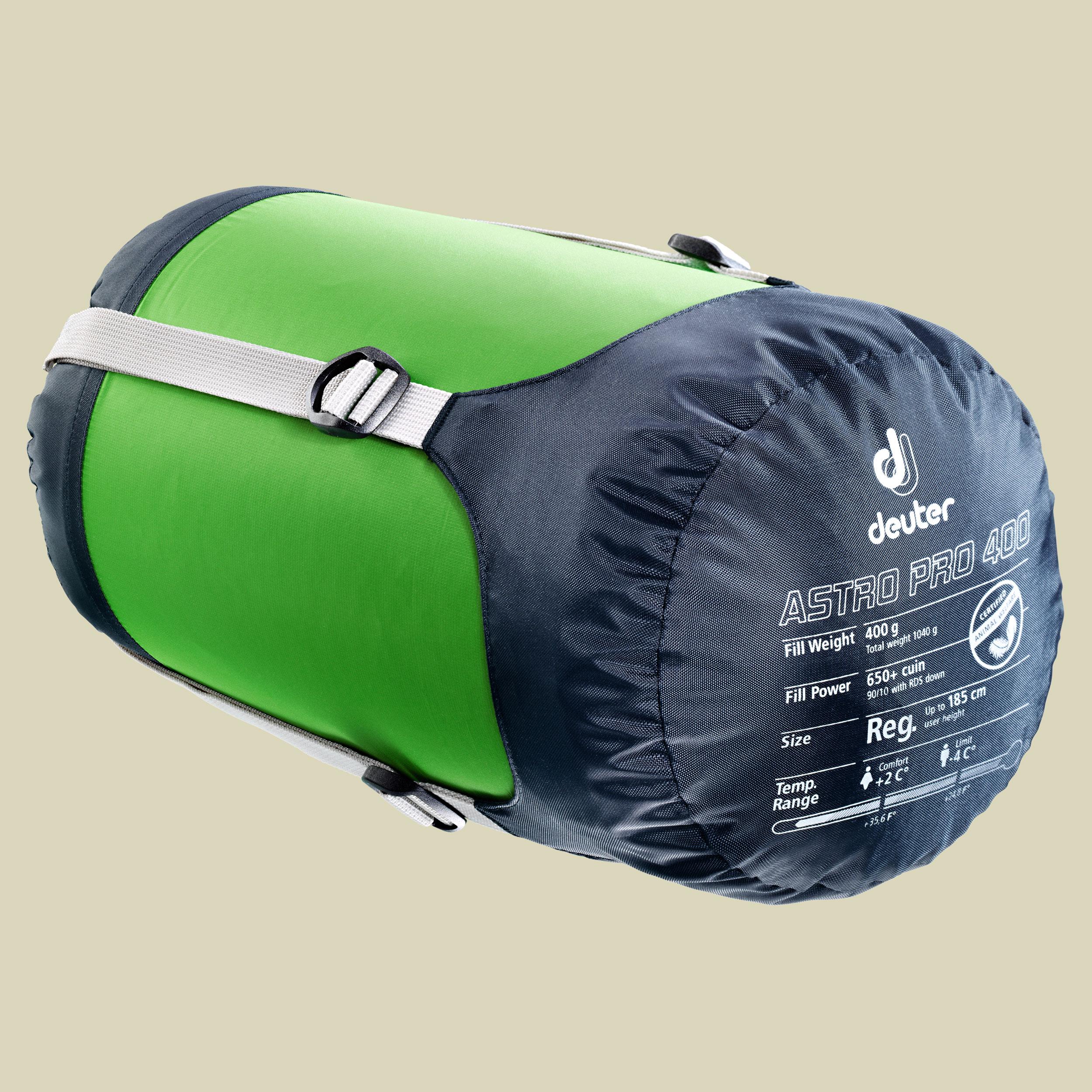 Deuter Astro Pro 400 Daunenschlafsack bis Körpergröße 200 cm links, spring