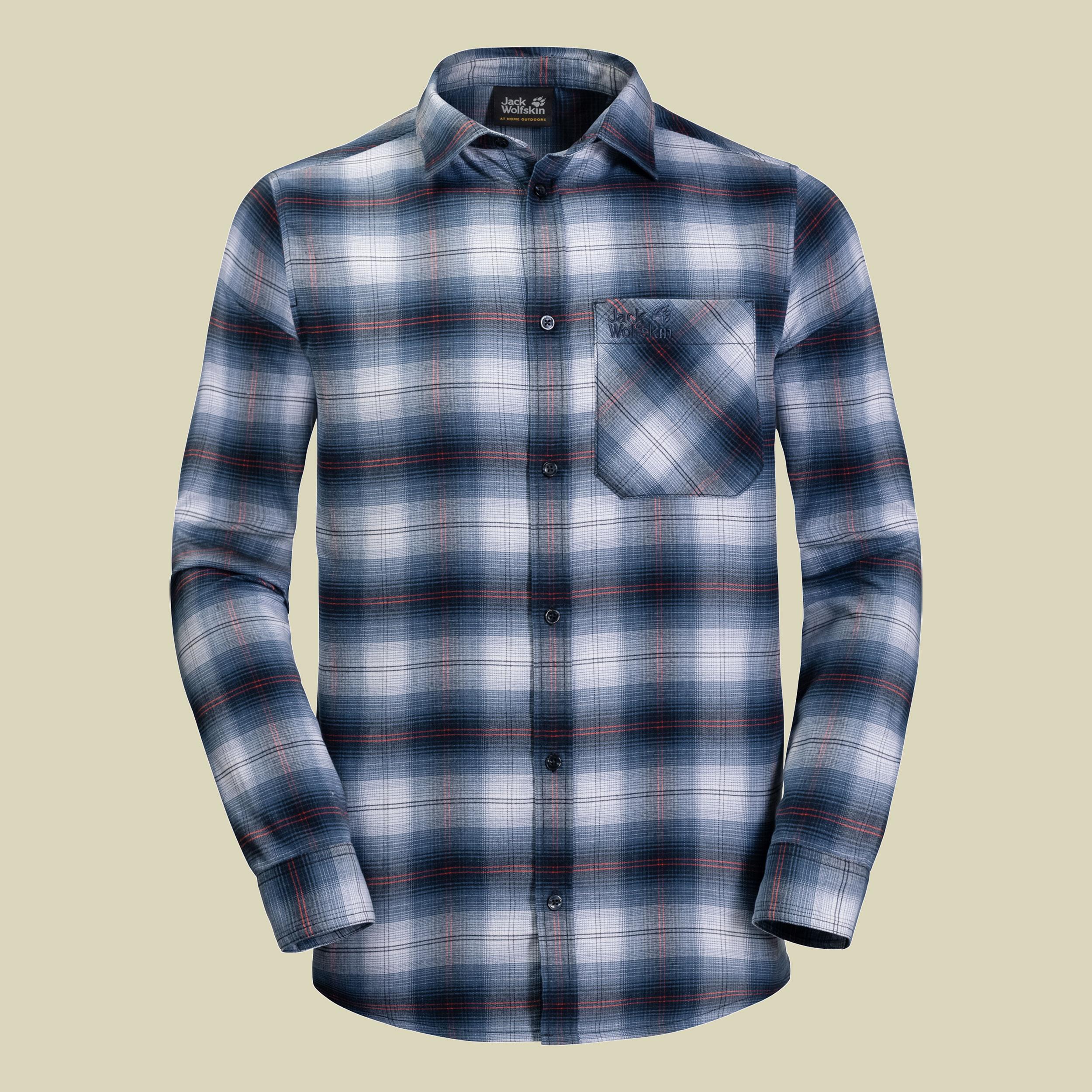 Jack Wolfskin Light Valley Shirt Men Herren Flanellhemd Größe S night blue checks