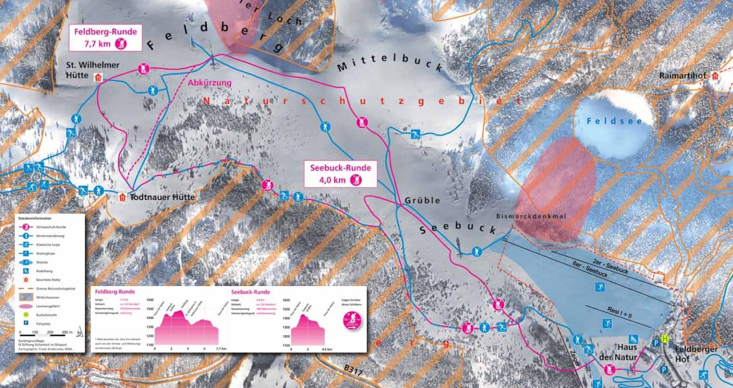 Schneeschuhwandern Karte Feldberg