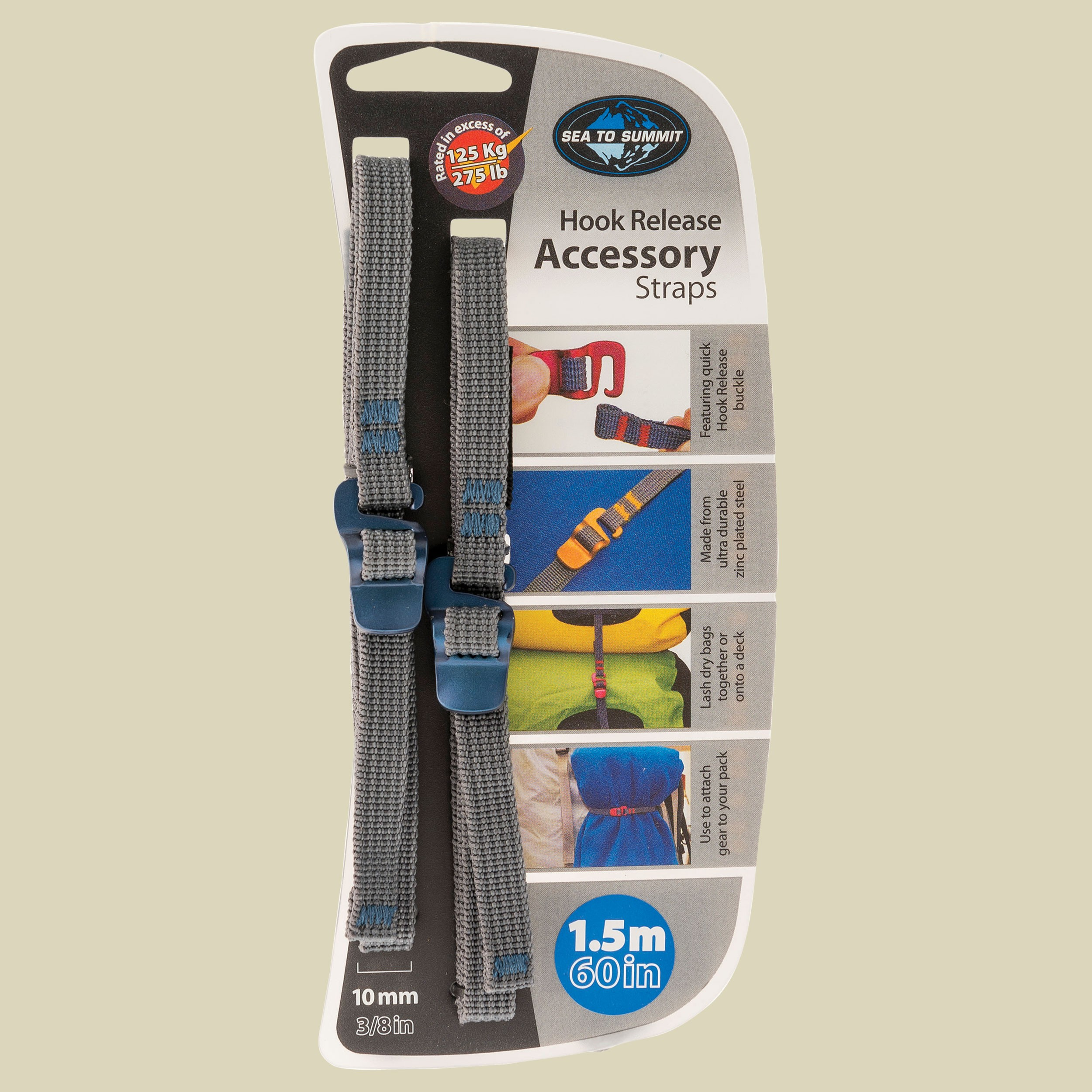 Tie Down Accessory Straps with Hook Release