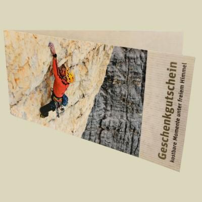 naturzeit Gutschein - Motiv Klettern, gilt fürs gesamte Sortiment