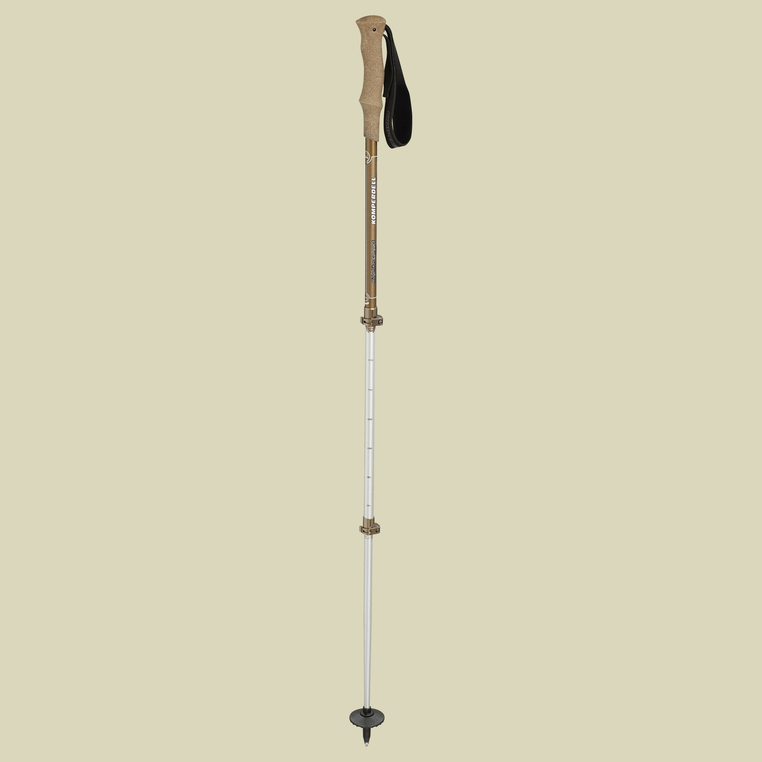 Komperdell, Ridgehiker Compact Power Lock 15, Länge:bis120cm, Trekkingstöcke, Farbe:silber-braun