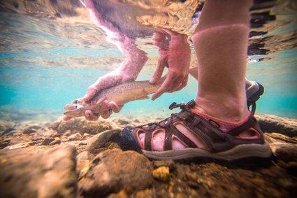 Trekkingsandalen im Wasser tragen